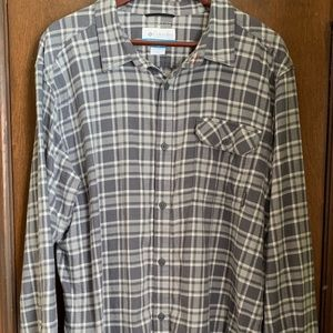 Columbia Omni-Wick Gray Flannel Button Down XL